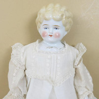 Antique China Head Doll Pet Name Helen 17 Inches Circa 1905 Blonde Hair Blue Eyes Cloth Body 112A
