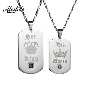 Cool Atoztide Hot Her King His Queen Stainless Steel Pendant Necklaces Military Army Cards Couple Necklace Silver Dog TagsAT_93_12
