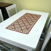 "Lace table runner ""Quasi chess"" - beige and brown table runner - tatting table runner - home decor - housewarming - wedding - anniversary"