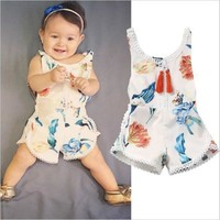 New Summer Fashion Baby Kids Girl Clothes Floral Printed Sleeveless Romper for 1 2 3 4 Years Girls 2017 One-pieces Girl Overalls