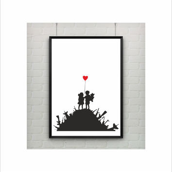 Kids on Guns by Banksy Print / Abstract / Graffiti Art / US Letter and A4 up to A0 size / Street Art / Wall Art / Room Decor / Satirical Art