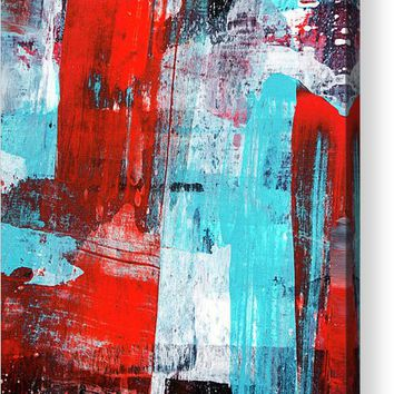 Turquoise And Red Abstract Painting Acrylic Print