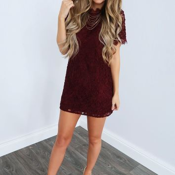 Catch Of The Day Dress: Burgundy