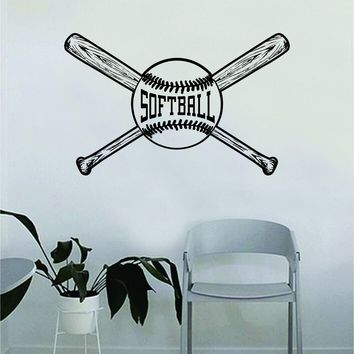 Softball Ball and Bats Wall Decal Sticker Bedroom Living Room Art Vinyl Beautiful Inspirational Sports Teen Softball