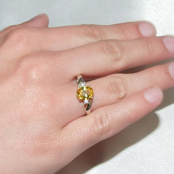 Vintage Sterling Silver Yellow Sapphire Ring, Oval Cut Lemon Yellow, 3 Stone Ring, 1.62 Carats, Clear Sapphires, Bypass Ring