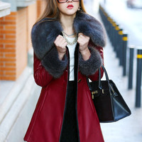 Long Sleeve Horn Button Fur Coat