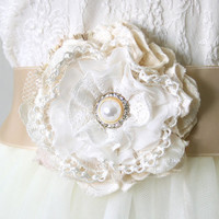Lace Flower Pin - Ivory White Fabric Flower with Pearl Rhinestone Button