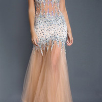 Black Label Couture 44 Jeweled Naked Sheer Illusion Evening Gown Prom Dress