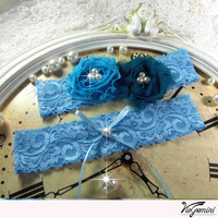 Wedding garter set - Keepsake and tossing garter - blue and teal