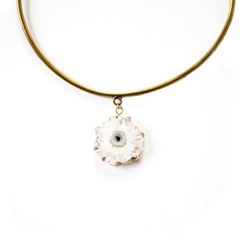 White Druzy Adjustable Brass Choker