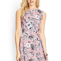 LOVE 21 Garden Chic A-Line Dress Pink/Grey