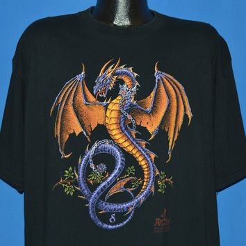 90s Alchemy Gothic Purple Dragon Fantasy t-shirt Extra Large