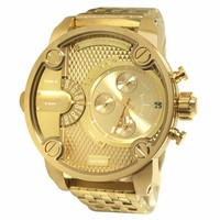 Diesel DZ7287 Men's The Daddies Gold Dial Yellow Gold Steel Bracelet Chronograph Watch