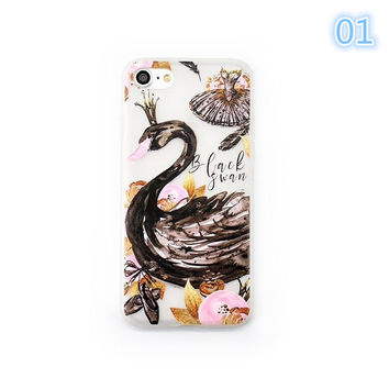 Cartoon Black Swan Phone Case For iphone 7 Case For iPhone 7 Plus 6s 6 Plus Ballet Skirt Dance Shoes Soft TPU Phone Covers -0405