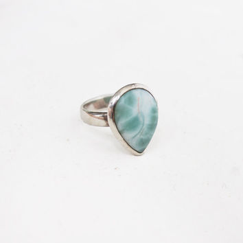 Vintage 70s Ring - Sterling Silver & White Turquoise Howlite Southwest Native Jewelry 925