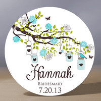Personalized Pocket Mirror - Customized Bridesmaid 3.5 inch Pocket Mirror with Gift Bag - Weddings - Bridesmaid Gift