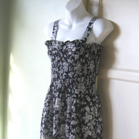 Black & White Print Maxi Sundress - Long Floral Print Black Cotton Dress; Size Small-XS - Puckered Bodice, Deep Plunge Dress