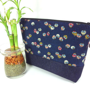 Large Travel Pouch, KImono Cosmetic Bag, Great Gift Idea, Padded Make-up Bag Japanese Kimono Cotton Fabric Owls Navy