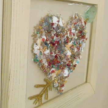Sea Glass Seashell Heart Wall Hanging, Seashell Window Art Sun Catcher, Nautical Beach Ocean Heart Decor, Beach Cottage Decor