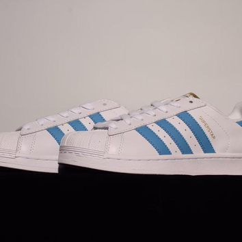 Adidas Superstar Foundation White   Blue Leather Trainers Sneake e16d9f4f84c8