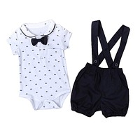Baby Boys Girls Clothing Set Cotton Baby Clothes Summer Casual Infant Bodysuit+Bib Pants 2Pcs Gentleman Suits Bebes Infantil