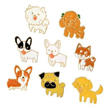 Cute Animal Pet Dog Brooch Enamel Pins Collection Cartoon Dog Series