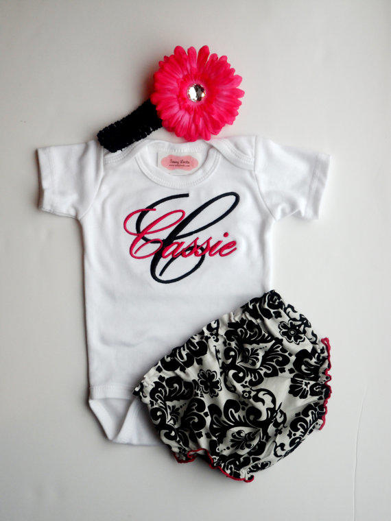 Personalized Baby Girl Clothes Damask from LilMamas on Etsy
