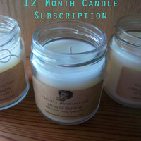Candle Subscription- 12 Month Gift Club- Shipping Included- 100 Percent Soy Candles- Shipping Included