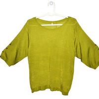 Lime Green Sweater Womens Vintage Pullover Spring Summer Large L