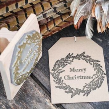 Christmas Wreath Feather Stamp