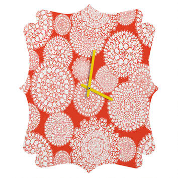 Heather Dutton Delightful Doilies Saffron Quatrefoil Clock
