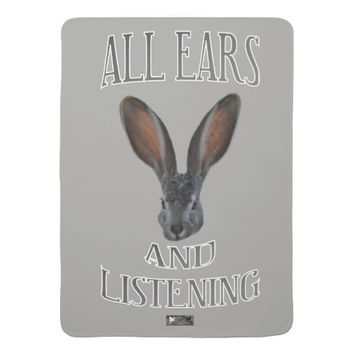 All Ears Baby Design by Kat Worth Swaddle Blanket