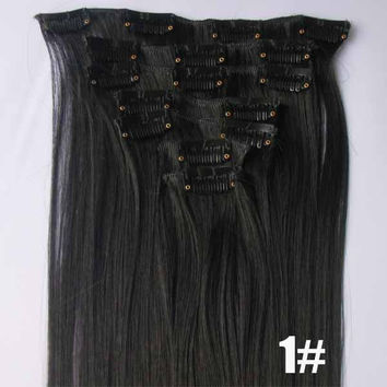 1# Bath&Beauty clip in synthetic hair extensions 7pcs/set,90grams hairpieces clip in hair 7pcs Straight hair,curly hairpiece,Hair Care,fashion COSPLAY ombre 1PCS