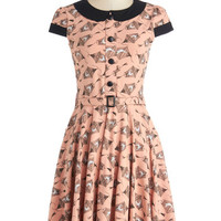 Long Cap Sleeves A-line Adorable Artist Dress in Birdcage