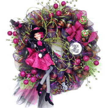 Glitzy Glam Diva Witch Deco Mesh Halloween Wreath