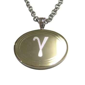 Gold Toned Etched Oval Greek Letter Gamma Pendant Necklace