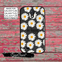 Gray Be Happy Quote Daisy Flower Pattern Cute Tumblr Inspired Custom Galaxy S5 and S4 and S3 Case and Galaxy Note 2 and Note 3 Case