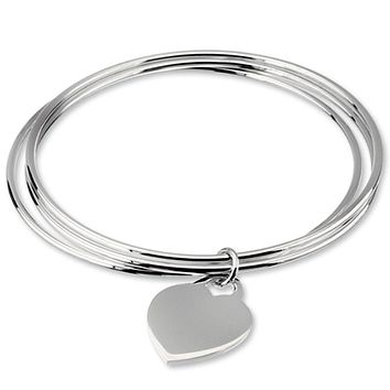 Sterling Silver Triple Bangle with Heart Charm Bracelet, 8 Inch