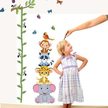 % Cute tiger Butterfly elephant animals height measure wall stickers vinyl wallpaper mural baby girl boy kids room nursery decor