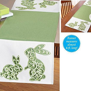 Green Cutout Nearly Four Foot Bunny Table Runner