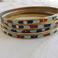 Enamel Bangle Bracelet Lot of Four Boho Bracelets Vintage 1970's Stack of Bangles Cloisonne