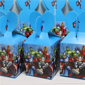 10pcs/lot the avengers candy box decor party loading gift  happy birthday party decoration supplies child favor baby shower