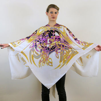 Silk scarf, Summer Scarf,Poncho,Wrap Scarf,Wing Shawl,Wearable Art Scarf,Gift for Her,Scarf Art,Scarf Poncho Scarf,Over Size Scarf