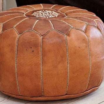 2 x moroccan pouffes, Leather Handmade Moroccan Pouf, Ottoman Cover, Hassock, Pouffe, Pouffes
