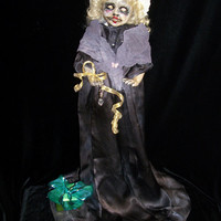 Creepy Christmas Prop Altered Art Doll Sweet Charlotte Hush Hush Holiday Horrible Merry Monster OOAK Goth Winter Oddity Ghost /L.Cerrito
