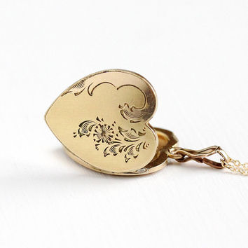 Vintage 14k Gold Filled Heart Locket Necklace - Late Art Deco 1940s Sweetheart Pendant Romantic Swirling Flower Floral Charm LMF Co Jewelry