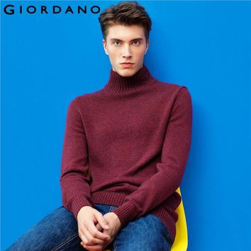 Giordano Men Sweater Thickening Jacquard High Collar Long Sleeves Sweater Round Neck Hombre Clothes Uomo Maglione Camisola