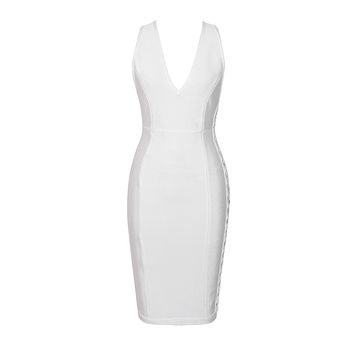 Alisson- Lace Up Deep V Neck Midi Bandage Dress