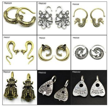 ac ICIKO2Q PAIR Fashion Indian Tribal Earring Spiral Taper Stretcher Piercing Gauge Expander Plugs Body Jewelry Ear Weight
