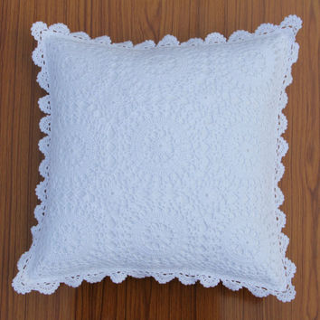 Crochet square THROW PILLOW - Handmade CUSHION Cover - Radham design- Cotton - Premium Home Decor